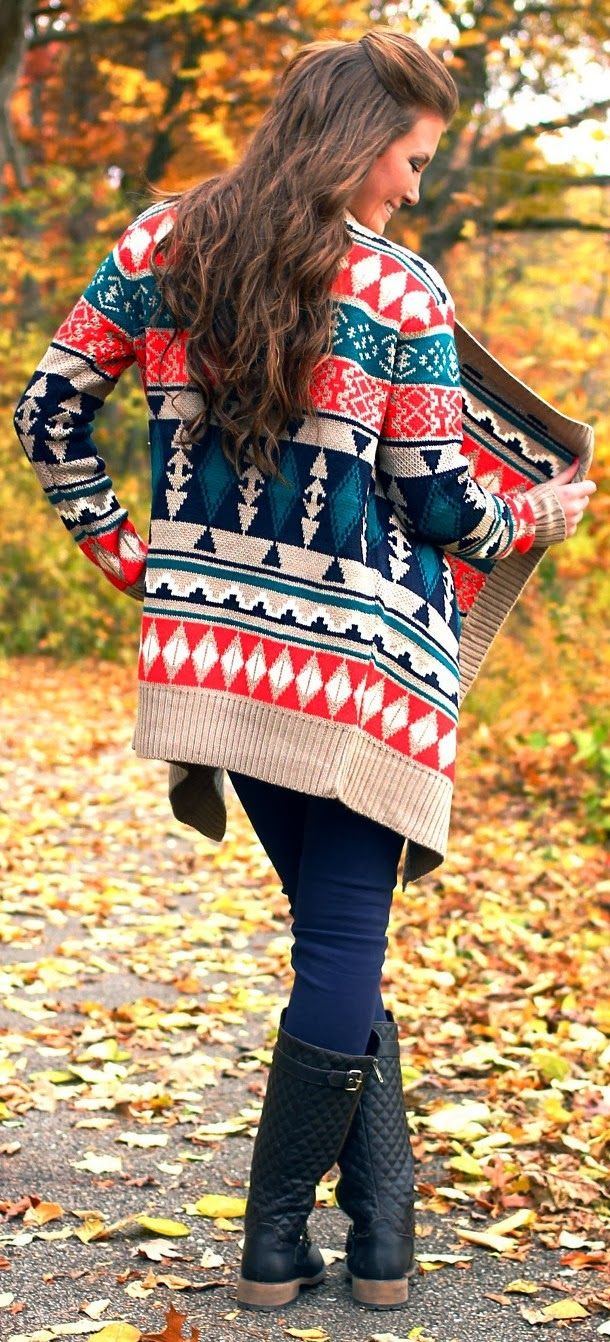 Adorable tribal cardigan fall fashion style
