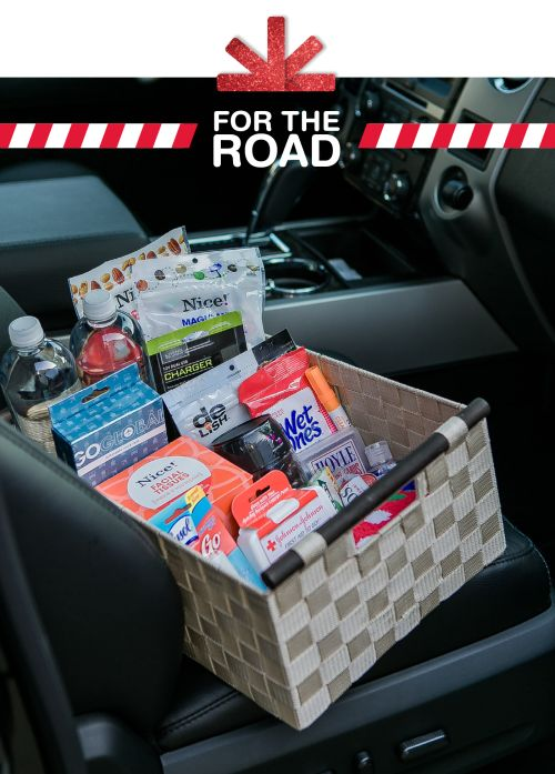 Get more out of packing less! Keep everyone in the car happy with a basket of on-the-road essentials: 1. Refreshments like bottles of flavored water 2. Snacks such as trail mix, chocolates, and...
