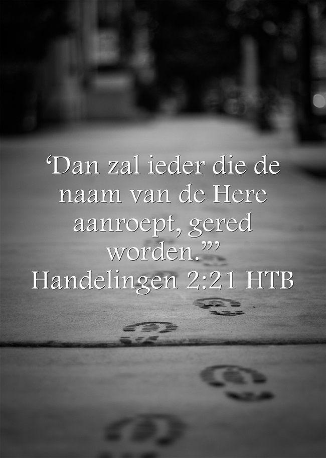 """'Dan zal ieder die de naam van de Here aanroept, gered worden.""""' Handelingen 2:21 HTB"""
