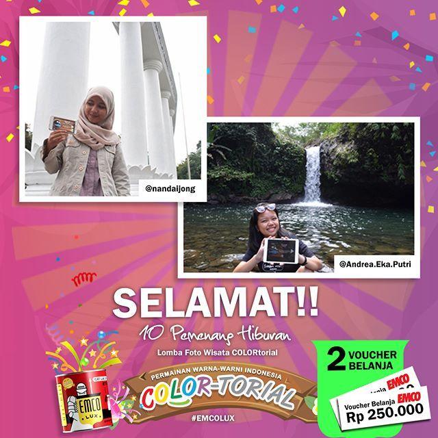 Inilah PEMENANG hiburan Lomba Foto Wisata COLORtorial EMCO!  SELAMAT kepada @nandaijong dan Andrea Eka Putri  Sertakan nama lengkap, alamat lengkap dan nomor telepon ke message fanpage/direct message/inbox EMCO Paint. ^_^  Hadiah berupa voucher belanja masing-masing sebesar Rp 250.000  Selanjutnya siapa pemenangnya ya?  #EMCOLUX, #COLORtorial #travelindonesia #pesonaindonesia #warna #ngecat #surabaya #jakarta #depok #tangerang #bogor #bekasi #bandung #bali #denpasar #jogja #semarang #solo…
