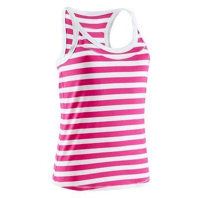 Canotte Fitness, Ginnastica, Danza - Canotta con top integrato fitness donna rigata fucsia/bianca DOMYOS - Abbigliamento palestra