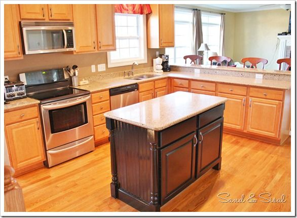 Black Painted Island - Look at perimeter cabinets & the combination of the 2.