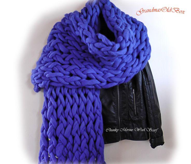 Chunky Merino Wool scarf, Arm Knit Chunky scarf, Blue scarf, Warm wool scarf, Large scarf, by GrandmasOldBox on Etsy