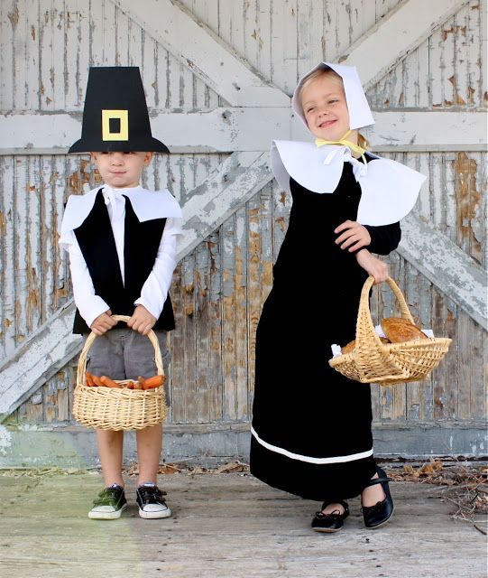Cute Pilgrim Outfit tutorial. This DIY is great for kids to play dress up in their pilgrim outfits.