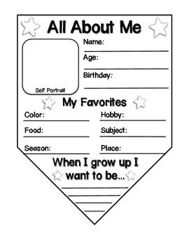 "Have students create this ""get to know you"" activity during the first week of school! This download includes two different style pennants. Hang them next to each other or on a string to make a banner for your classroom or the hallway. Laminate after your students complete this activity, for more durability."