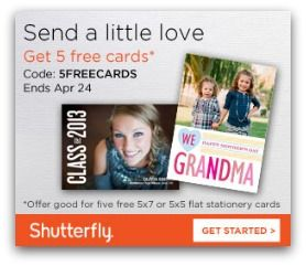 Shutterfly Promo Codes 2013 - FREE Cards and More I have several new Promo Codes for Shutterfly for you all today.  Right now you can get Five FREE 5x7 or 5x5 cards, 40% off Photo Books and more!  ...
