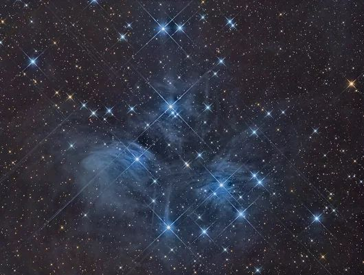 """The attached image shows M45, better known as the Pleiades, or the Seven Sisters (in Latin America, ""the seven kids"", as in baby goats). The blue haze ... - BlackFlame 3178 - Google+"