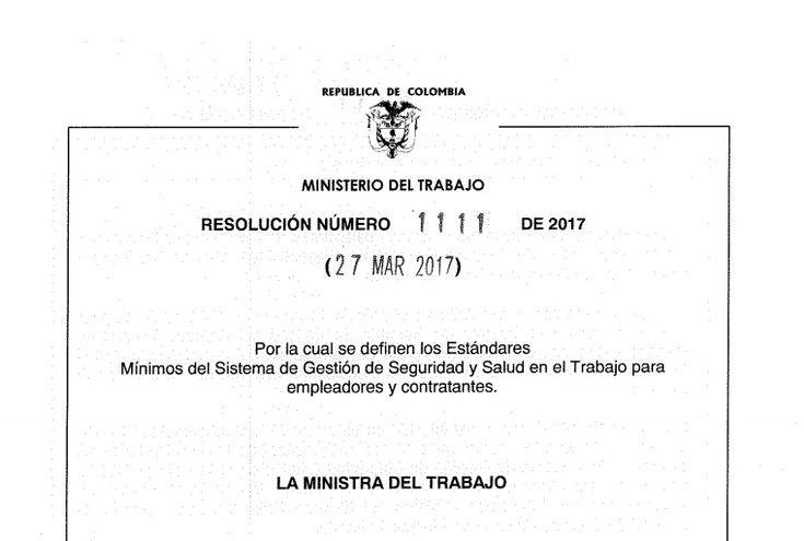 DECRETO 1111 DEL 27 DE MARZO DEL 2017- ESTÁNDARES MÍNIMOS DEL SG-SST PARA EMPLEADORES