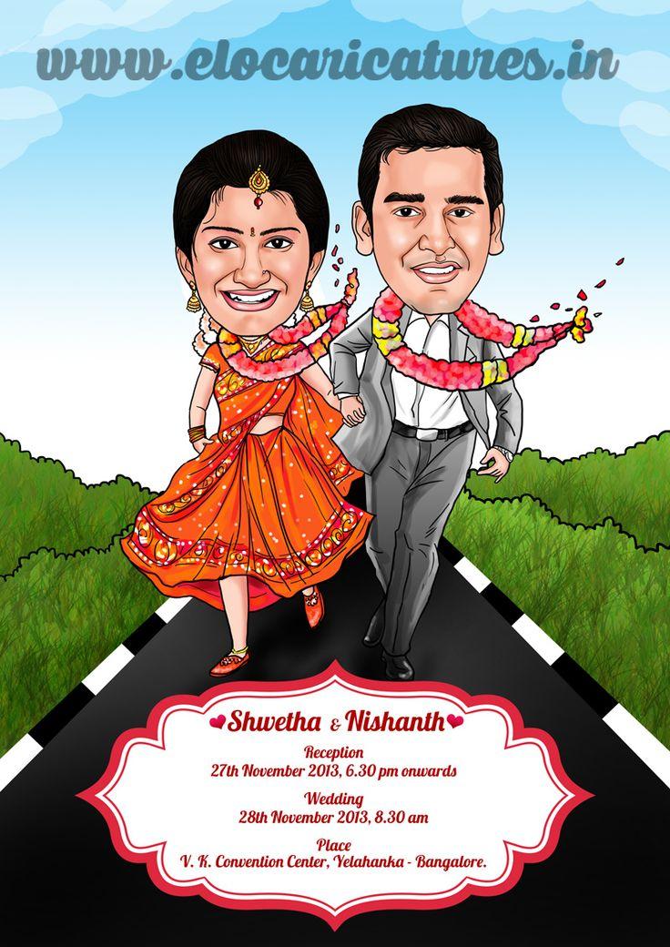 Indian wedding couple caricature! Kalyana Samayal Saadham movie theme!