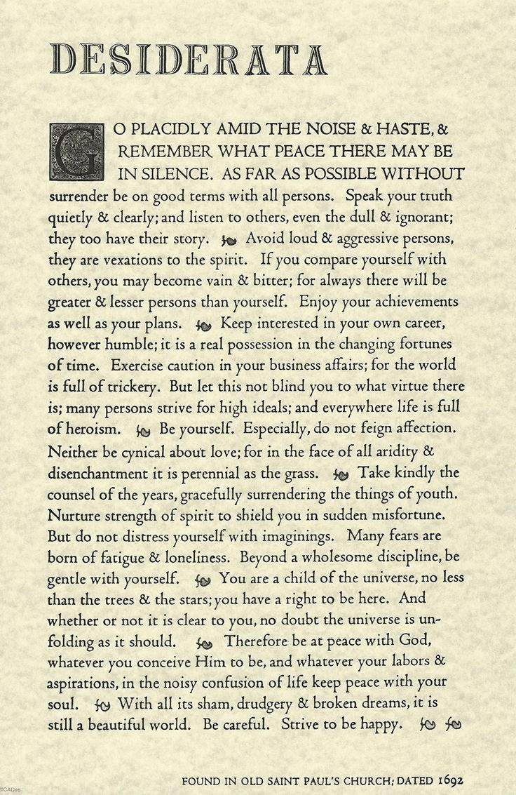 Amazon.com: The Desiderata Poem by Max Ehrmann. 11 X 17 Poster on Archival Parchment Paper.: Posters & Prints