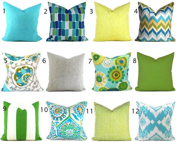 Outdoor Pillow Covers ANY SIZE You Choose Outdoor Decorative Pillow Cover  Blue Pillow Green Pillows Ikat
