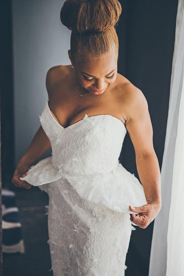 peplum wedding dress, photo by Rock This Moment http://ruffledblog.com/san-diego-party-wedding #bridal #weddingdress #weddinggown