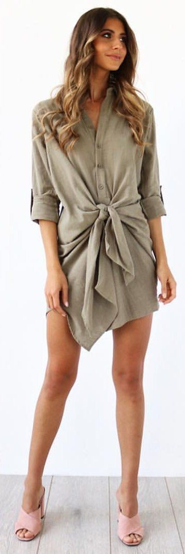 #spring #outfits Olive Bow Dress + Pink Pumps