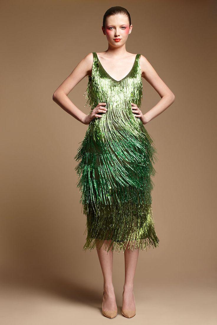 Tribune Standard Emerald Bugle Bead Dress \\ Modern Day