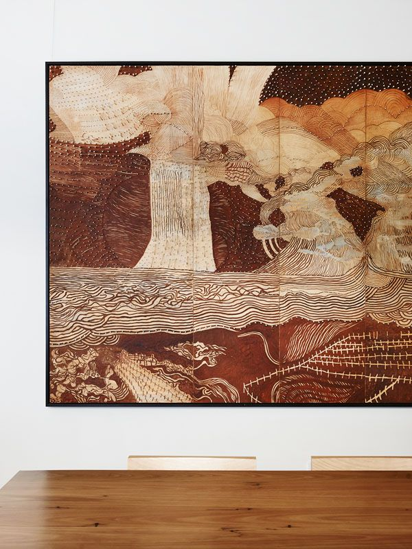 Painting by Joshua Yeldham in Pitzy's office at Capi HQ in South Melbourne. Photo - Eve Wilson.