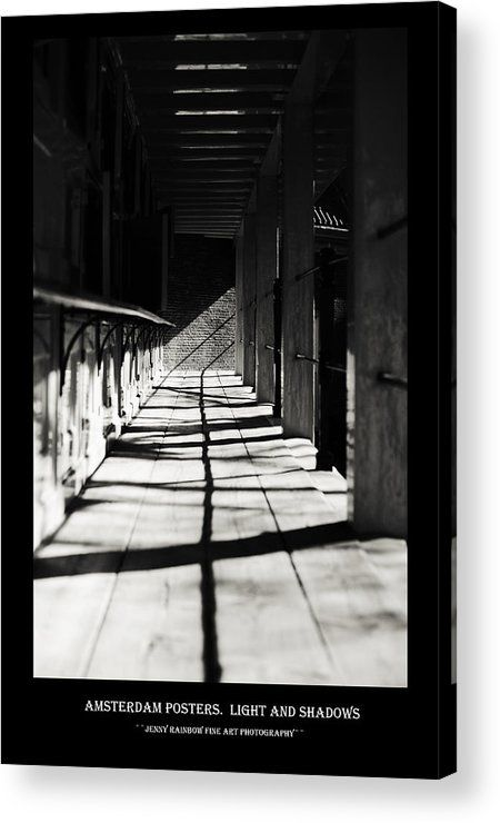 Acrylic Print of photograph Amsterdam Posters. Lights And Shadows by Jenny Rainbow.  Big collection of Amsterdam posters with black framing with concept of city architecture and street photos which have been done during the period 2013 - 2015. This collection offering the same style for all the images and perfectly suits for wall decor of the bars and restaurants or minimalistic home interiors. To buy print please click on image. Order online, delivery, 30 days money back guaranty.