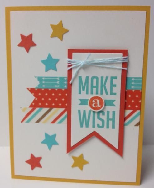 Make A Wish!-#JBStampers Quick, easy celebration card for a variety of uses. From the Perfect Pennant stamp set and lots of washi tape and stars!