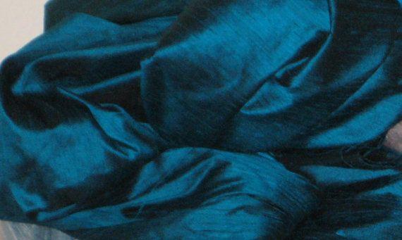 Peacock Teal Blue 100 dupioni silk fabric by DesignersNeeds, $17.90