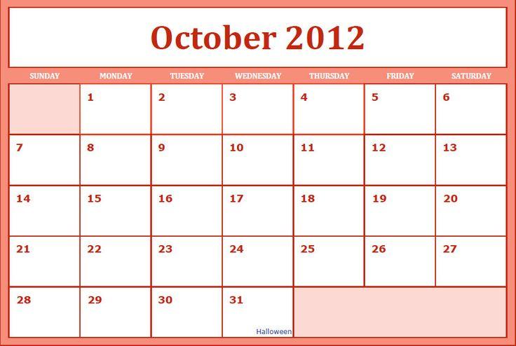 Calendars Printfree Printable Monthly 2015 Printable Blank Pdf October 2012 Calendar Printable