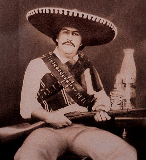 Cocaine baron: Pablo Escobar, dressed as his hero, the outlaw Pancho Villa, in an undated file photo