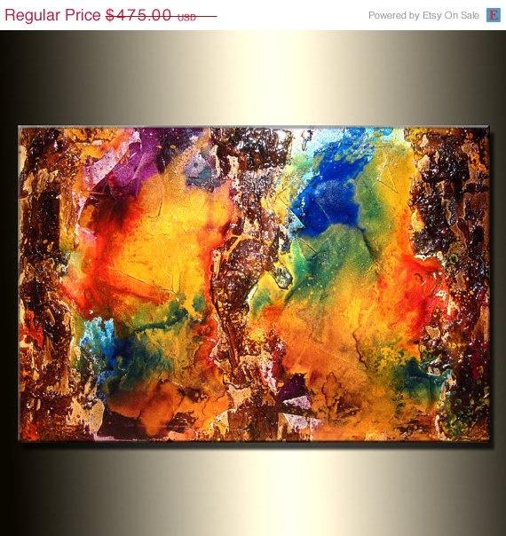 ORIGINAL Texture Metallic Painting Modern by newwaveartgallery, $380.00