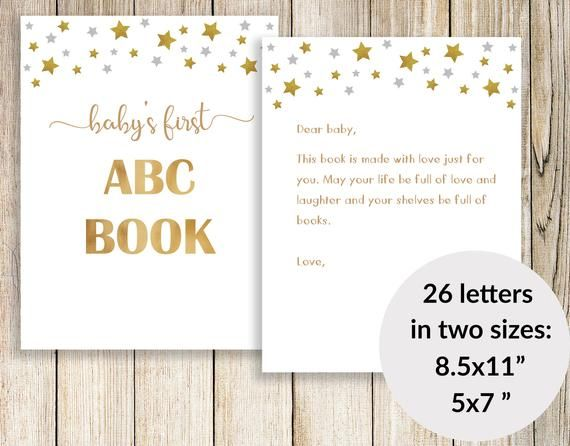 picture about Printable Abc Book Template known as ABC E book Child Shower, Babys Initial ABC Guide Blank, ABC E book