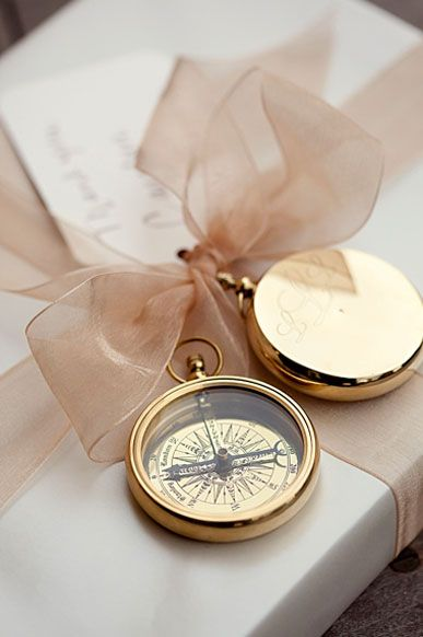 Gold Compass Wedding Favor | Easton Events - Old World Glamour **could do this with pocket watches lol**