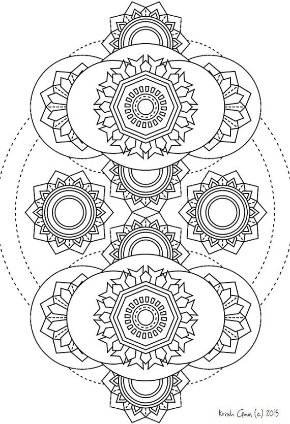 Items Similar To Mandala Adult Coloring Page From Zen Out Vol