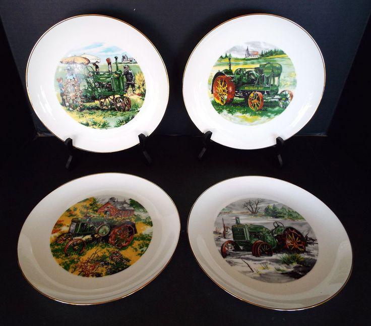 4 John Deere Credit Union Collector Plates Limited Edition 1983-85 Waterloo Iowa