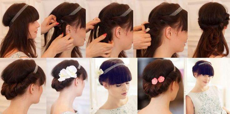 HÅRBÅND OG TILBEHØR: Har du hårbånd har du også flere muligheter til å pynte topplokket. Se så enkelt det kan gjøres, fest gjerne noen spenner med pynt på i siden.