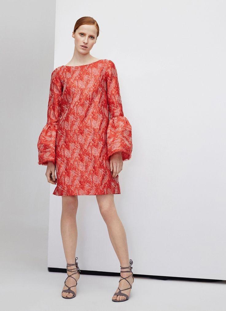 Vestido rojo brocado - Vestidos | Adolfo Dominguez shop online
