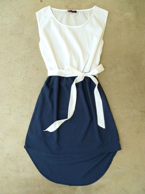 Half White/half blue dress with white ribbon at waist