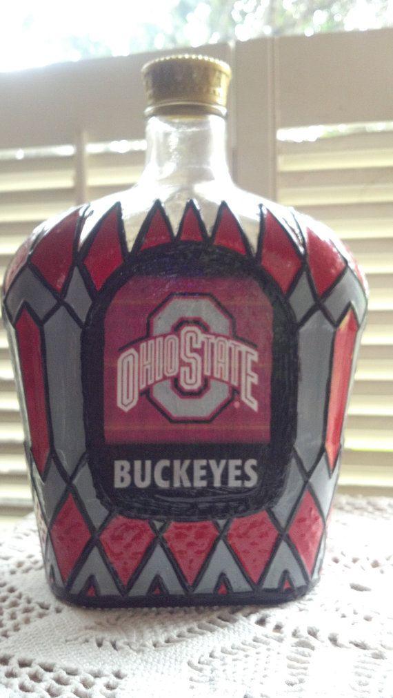 Ohio State Buckeyes bottle Crown Royal Hand Painted glass Liquor bottle OOAK
