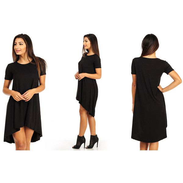 Women's ModaXpressOnline.com Casual Shirt Flare High-Low Dress Style... ($15) ❤ liked on Polyvore featuring black and dresses