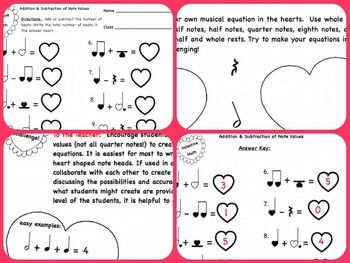 Fun for Valentine's Day or any day, this heart themed worksheet engages students in practicing mathematical and musical concepts by adding and subtracting basic note values in simple time: whole, half, dotted half, quarter, eighth notes and rests.  Equations are solved and then created in heart shapes. A teacher answer key is included with teaching tips.  This worksheet can be used alone or with Music: Heart Beat Music Math Notebook/Interactive Whiteboard file.