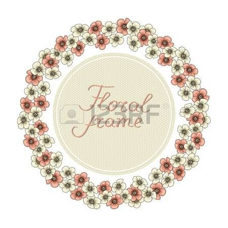 Round ornamental frame of flowering branches, vector illustration