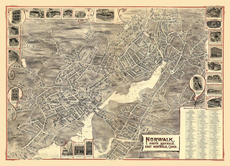 Antique Map of Norwalk Connecticut Poster 1899 Fairfield County