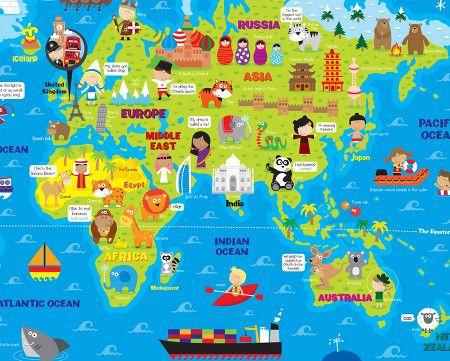 illustrated world maps