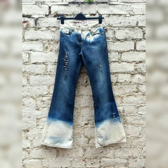 High Waisted Jeans Flared Ripped Bleached Jeans to fit UK size 6 or US size 2 Fall Fashion