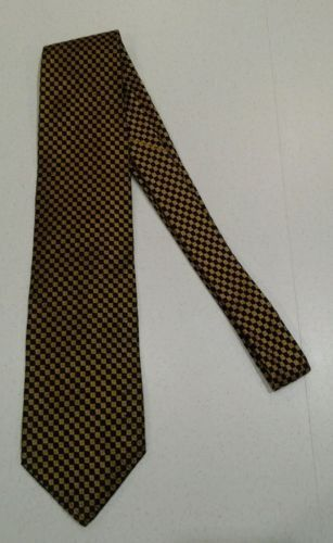 Chelsea LTD squares Mens Neck Tie 100 % silk made usa gold black