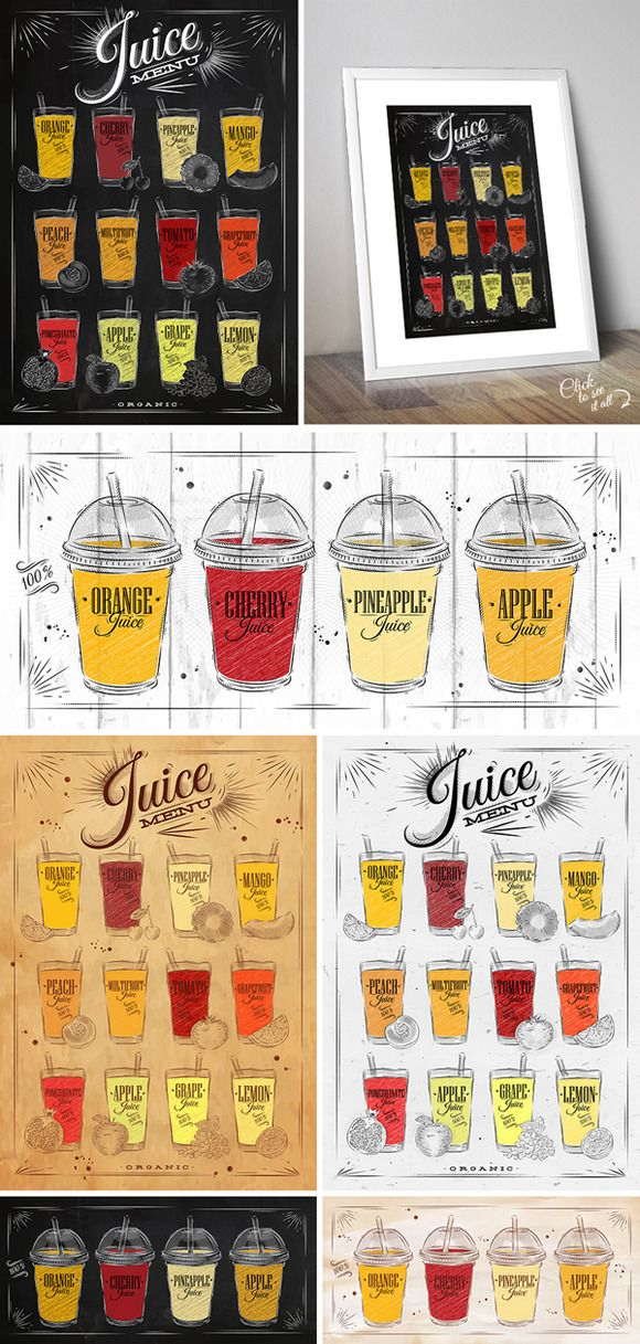 Set Juice Posters by Anna on Creative Market