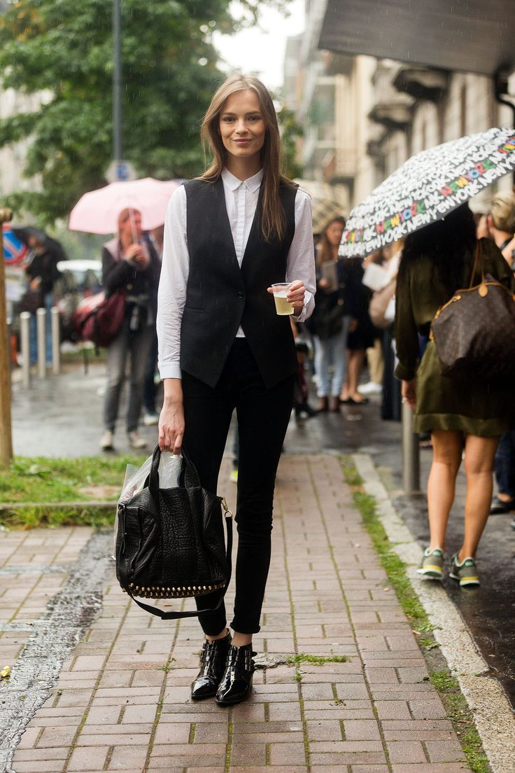 Mina Cvetkovic is chic in black-and-white with an Alexander Wang bag.