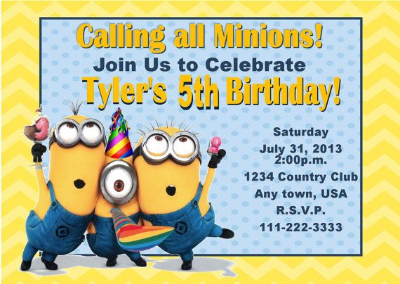 Best Minions Party Images On Pinterest Th Birthday - Birthday party invitation minions