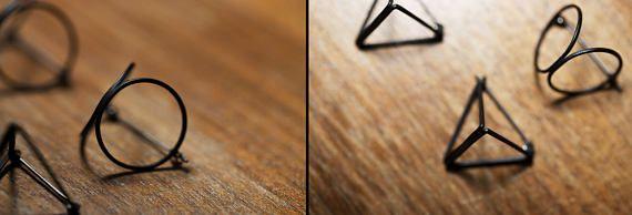 3D driehoek oorbellen