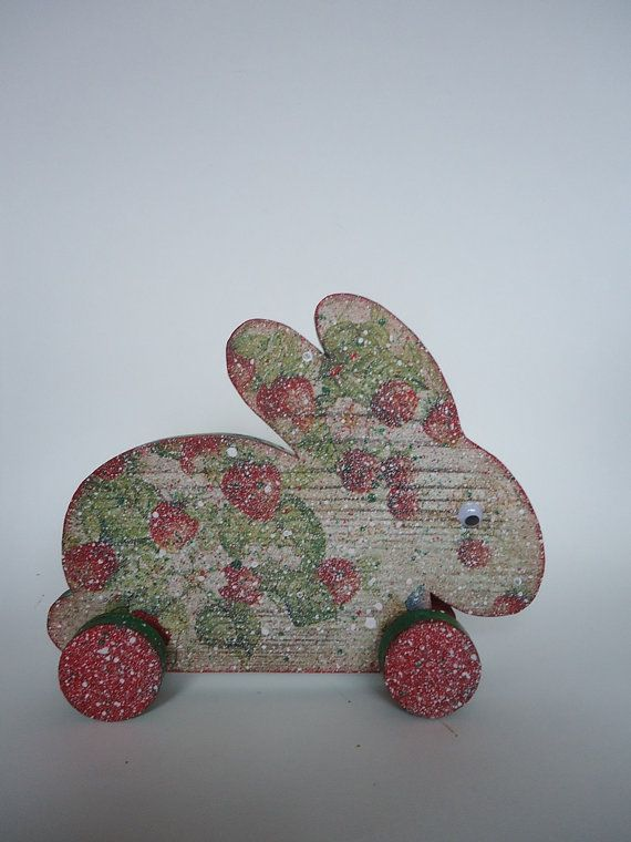 Wooden toy on wheels wooden figurine statuette by VesArtAtelier