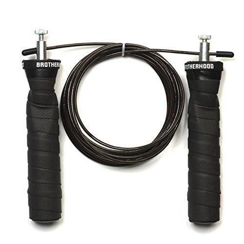 Jump Rope Additional Cable - Lightweight Speed Rope Best for CrossFit Training Boxing MMA Cardio - Adjustable Rope - Workout Equipment - Brotherhood (Black)