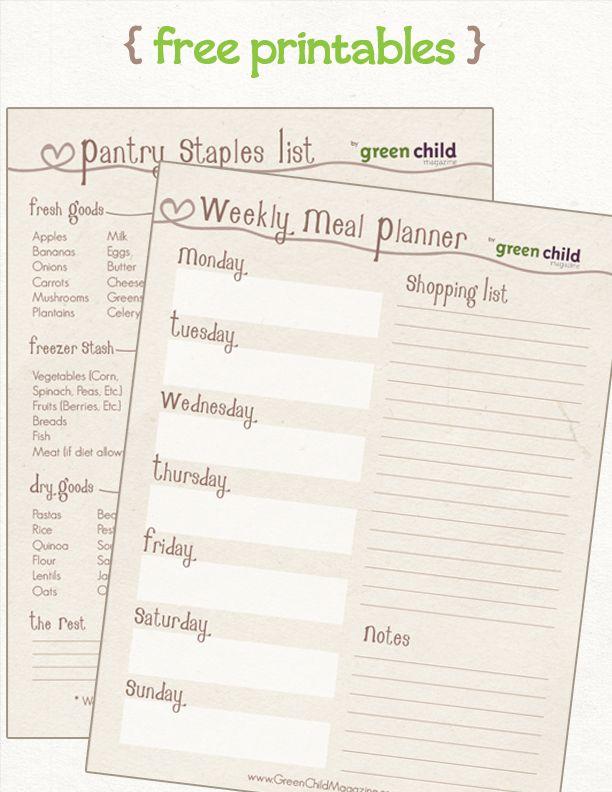 Meal Planning Kit { free printables }