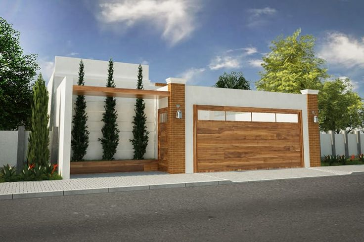 Planta de casa com portão de madeira