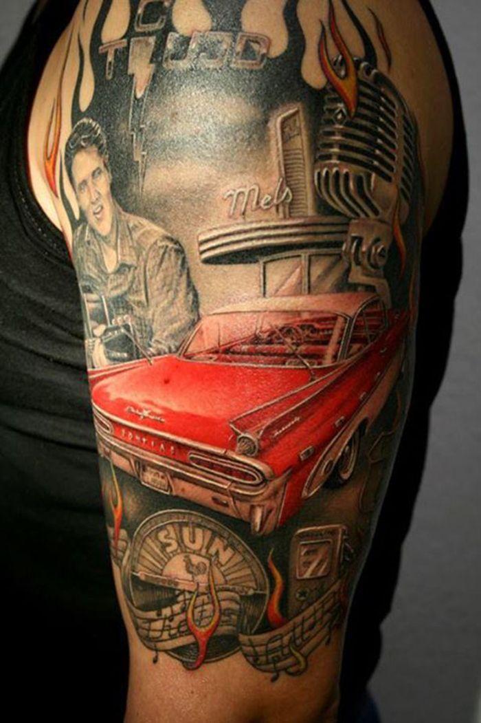 Tattoos With Car Theme Tattoos Tattoos Sleeve Tattoos Elvis Tattoo