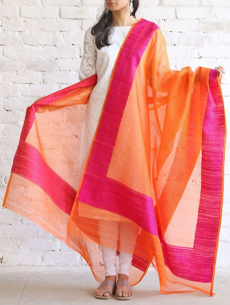 Buy Orange Pink Kora Silk Dupatta by Ekaya Benarasi Online at Jaypore.com